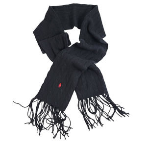 Polo Ralph Lauren Wool Cashmere Cable Knit Fringe Scarf Black